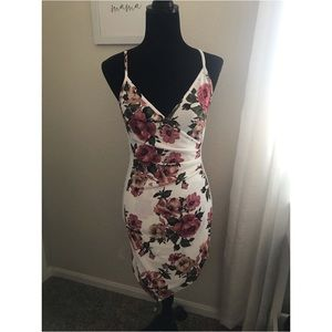 White and floral print asymmetrical dress, new